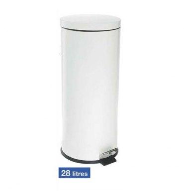 HYGIENE Poubelle à pédale en métal capacité 28 Litres - Diamètre 29 cm, hauteur 64 cm blanche