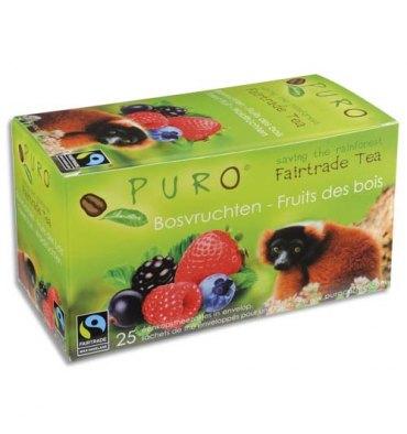 PURO Boîte de 25 sachets de thé Fruits des bois enveloppés 2g Fairtrade Tea