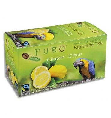 PURO Boîte de 25 sachets de thé Citron enveloppés 2g Fairtrade Tea