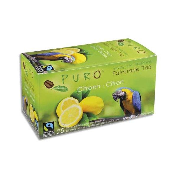 PURO Boîte de 25 sachets de thé Citron enveloppés 2g Fairtrade Tea (photo)