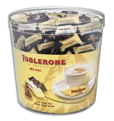 TOBLERONE Boîte de 904g Minis Toblerone 3 variétés de chocolats : blanc, lait, et noir en sachet individuel