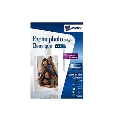 AVERY Boîte de 40 feuilles de papier photo brillant A4, jet d'encre, 180 g