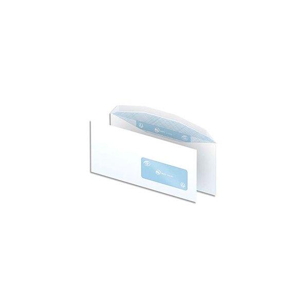 NEUTRE Boîte de 1000 enveloppes blanches gommées 80g mise sous pli automatique DL2 114 x 229 mm fenêtre 45 x 100 mm