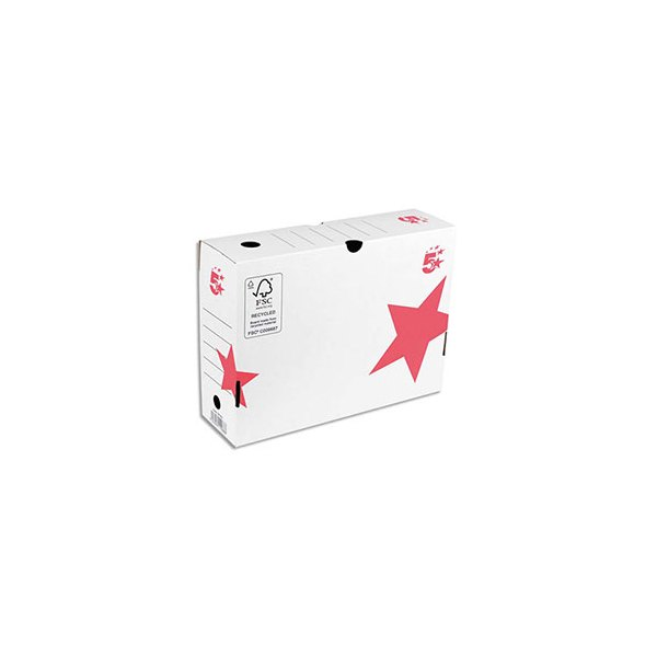 5 ETOILES Boîtes archives dos 15 cm, montage automatique, kraft blanc imprimé rouge (photo)