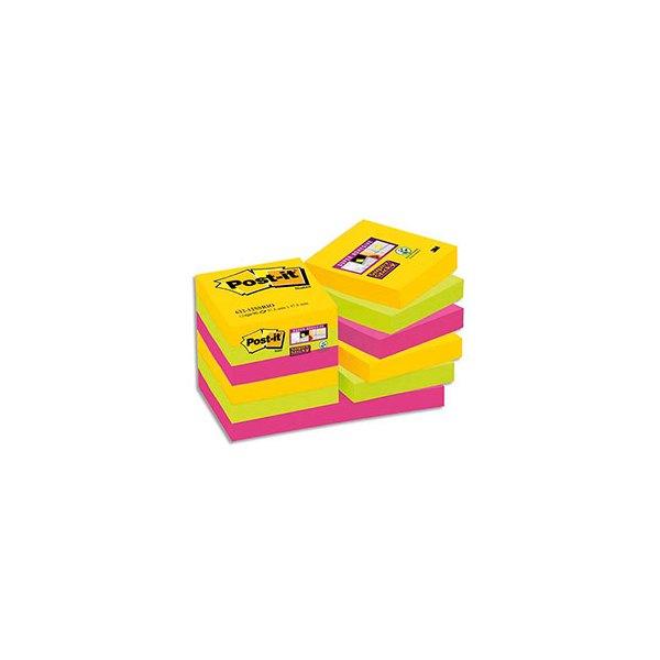 POST-IT Lot de 12 blocs Super Sticky Rio 90 feuilles 4,76 x 4,76 mm - Coloris assortis