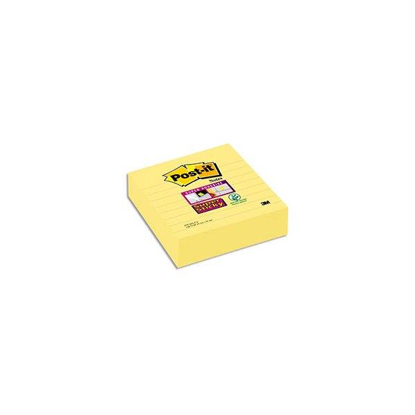 POST-IT Lot de 3 blocs de 70 feuilles Super Sticky jaunes lignées 10,1 x 10,1 cm