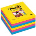 POST-IT Lot de 6 blocs 90 feuilles Super Sticky RIO lignées 101x101 mm assortis