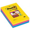 POST-IT Lot de 3 blocs 90 feuilles Super Sticky RIO lignées 10,1 x 15,2 cm assortis