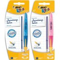 BIC Blister 1 stylo bille TWIST BEGINNERS + 1 recharge. Pointe large, encre bleue. Corps rose ou bleu