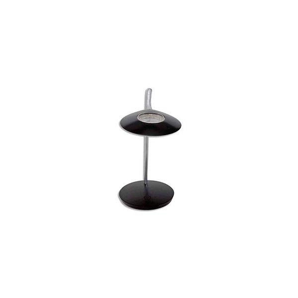 ALBA Lampe à Leds Aéro en aluminium noire - Tête 23 cm, 1 Bras L56 cm et Socle D 19 cm (photo)