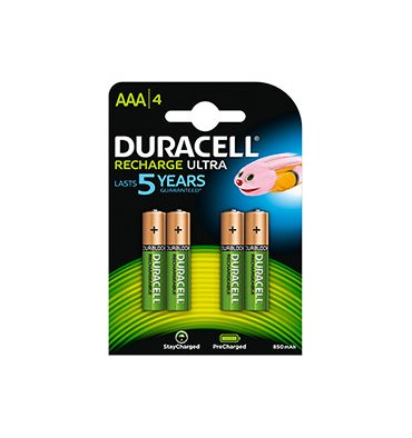 DURACELL Blister de 4 accus rechargeables 1,2V AAA HR3 800 mAh