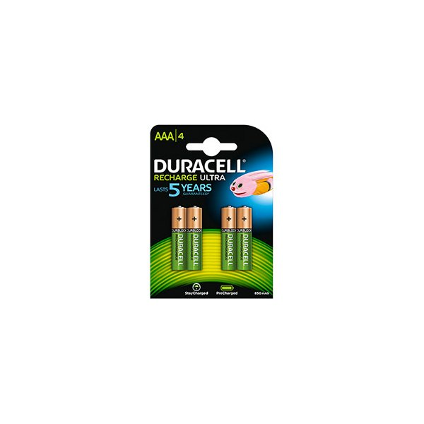 DURACELL Blister de 4 accus rechargeables 1,2V AAA HR3 800 mAh (photo)