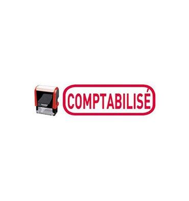 TRODAT Timbre formule COMPTABILISÉ - X-print à encrage automatique Rouge. Dimensions empreinte 45 x 16 mm