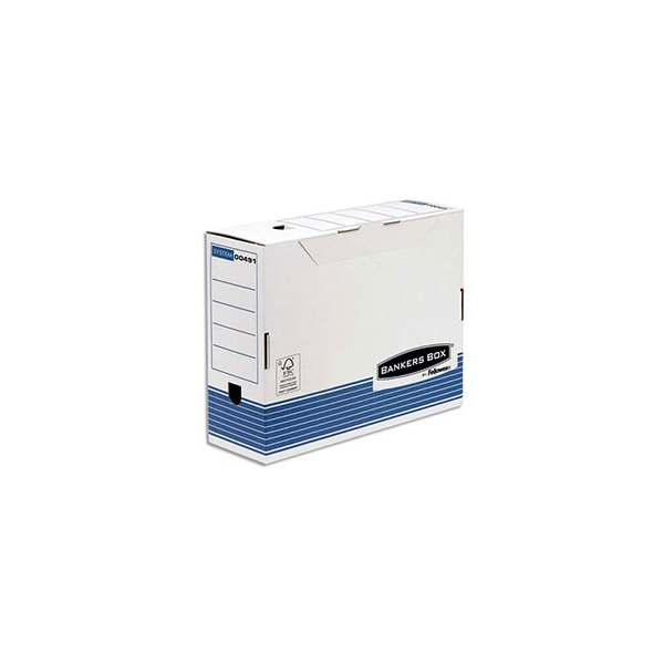 BANKERS BOX Boîte archives dos 10 cm SYSTEM, montage automatique, carton recyclé blanc/bleu (photo)