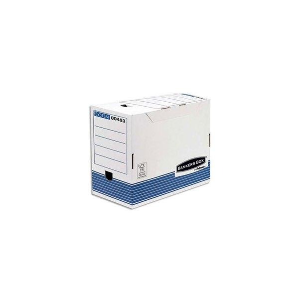 BANKERS BOX Boîte archives dos 20 cm SYSTEM, montage automatique, carton recyclé blanc/bleu (photo)