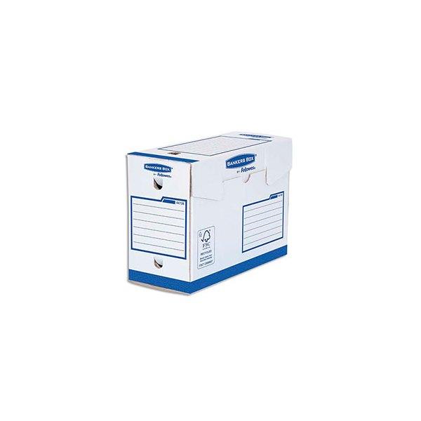 BANKERS BOX Boîtes archives dos de 20 cm HEAVY DUTY. Montage manuel, en carton blanc/bleu (photo)