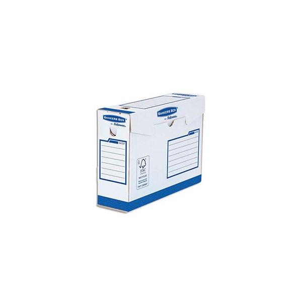 BANKERS BOX Boîtes archives dos de 15 cm HEAVY DUTY. Montage manuel, en carton blanc / bleu (photo)