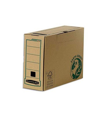 BANKERS BOX Boîte archives dos 20 cm EARTH SERIES. Montage manuel, carton recyclé kraft brun