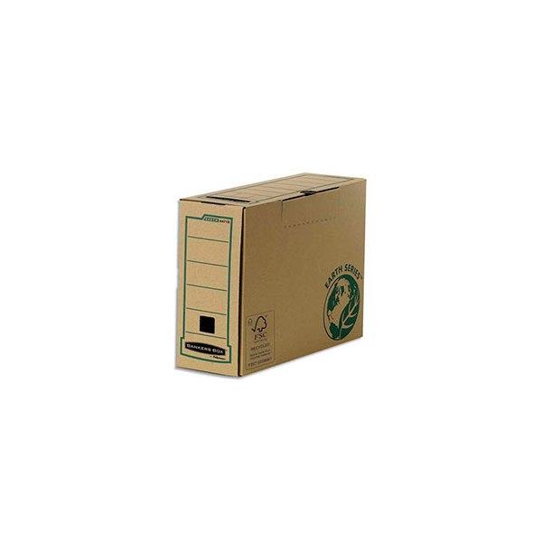 BANKERS BOX Boîte archives dos 20 cm EARTH SERIES. Montage manuel, carton recyclé kraft brun (photo)