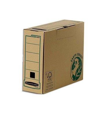 BANKERS BOX Boîte archives dos 10 cm EARTH SERIES. Montage manuel, carton recyclé kraft brun