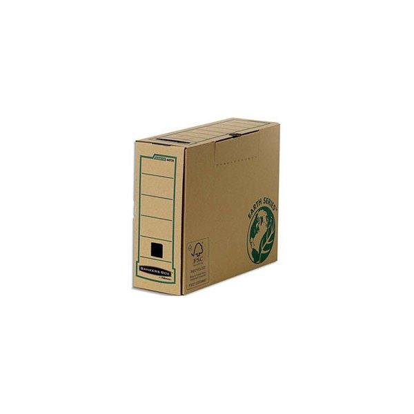 BANKERS BOX Boîte archives dos 10 cm EARTH SERIES. Montage manuel, carton recyclé kraft brun (photo)