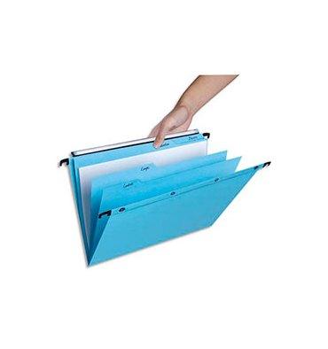 L'OBLIQUE AZ by ELBA Paquet de 5 dossiers suspendus TIROIR 5 onglets en kraft 240g. Fond V, bouton-pression. Bleu