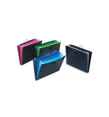 VIQUEL Trieurs ménager GRAFICOLOR sans rabat en polypropylène 5/10e, 5 compartiments. Noir intérieur couleur