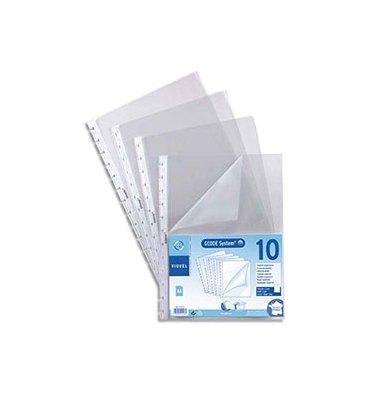 VIQUEL Sachet de 10 pochettes perforées à ouverture coin pour reliure Maxi-Géode polypropylène 8/100