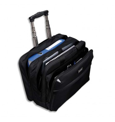 LIGHTPAK Pilot Case Trolley noir en polyester compartiments + poches