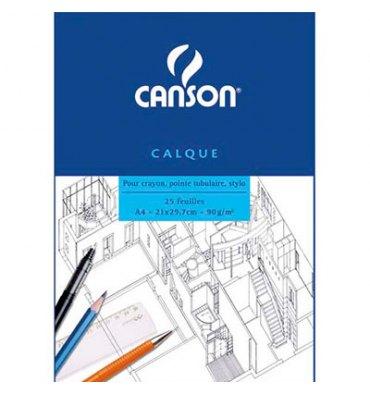 CANSON Bloc papier calque Satin 25 feuilles A4 90g