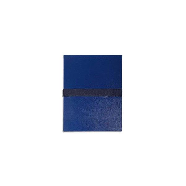 EXACOMPTA Chemise extensible en balacron, fermeture par sangle velcro, coloris bleu foncé