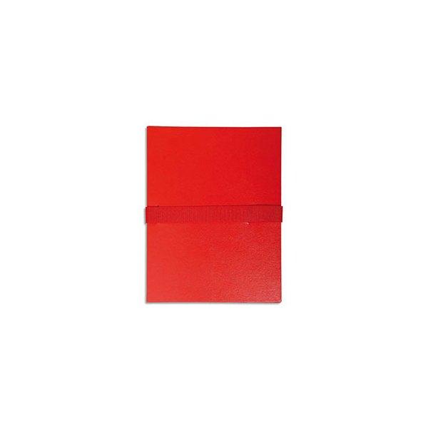EXACOMPTA Chemise extensible en balacron, fermeture par sangle velcro, coloris rouge