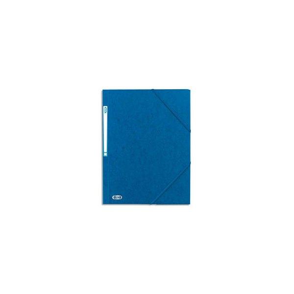 ELBA Chemise 3 rabats à élastique BOSTON en carte lustrée 5/10e, format A4, coloris bleu et noir