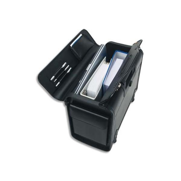 ALASSIO Pilot Case Trolley noir en simili cuir, serrure à combinaison, compartiments (photo)