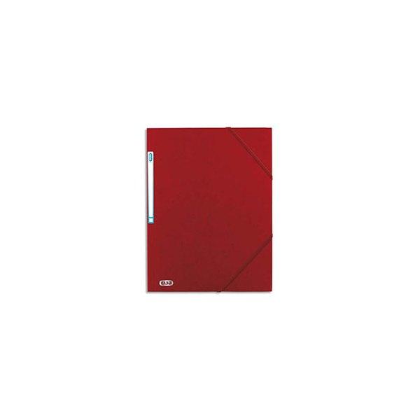 ELBA Chemise 3 rabats à élastique BOSTON en carte lustrée 5/10e, format A4, coloris rouge et noir