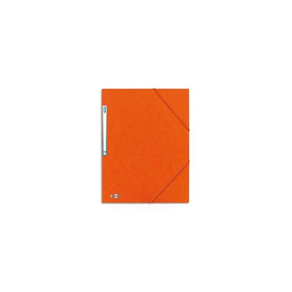 ELBA Chemise 3 rabats à élastique BOSTON en carte lustrée 5/10e, format A4, coloris orange et noir