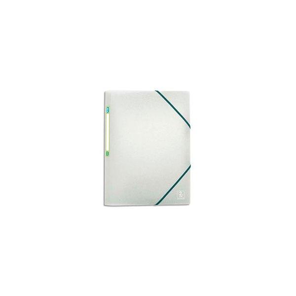 ELBA Chemise à 3 rabats et élastiques 2nd LIFE en polypropylène 5/10ème, format A4, coloris incolore