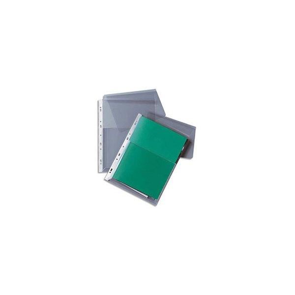 5 ETOILES Paquet de 10 pochettes-plan à rabat en PVC 14/100e devant et 17/100e au dos, perforation 11 trous