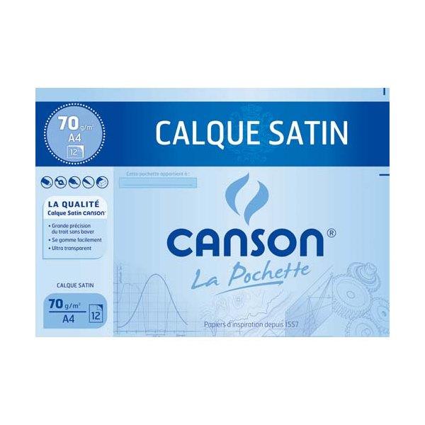 CANSON Pochette 12 feuilles papier calque 24 x 32 cm 70g avec pastilles repositionnables