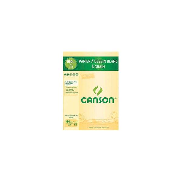 CANSON Bloc papier Dessin blanc 20 feuilles A4 160g