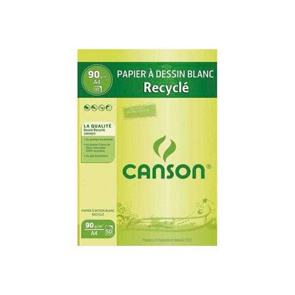 CANSON  Bloc papier Dessin blanc recyclé 50 feuilles A4 90g (photo)