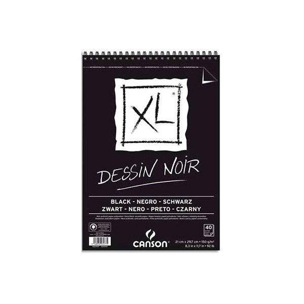 CANSON Album de 40 feuilles de papier dessin, XL Dessin noir 150 g A3