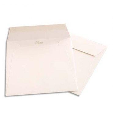 CLAIREFONTAINE Paquet de 20 enveloppes 120g POLLEN 16,5 x 16,5 cm. Coloris blanc