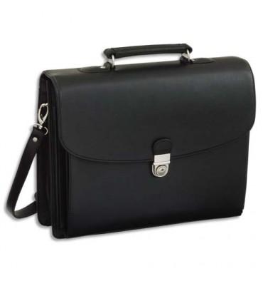 ALASSIO Serviette Deluxe noire en simili cuir 5 compartiments + poches