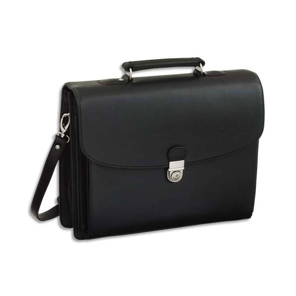 ALASSIO Serviette Deluxe noire en simili cuir 5 compartiments + poches (photo)