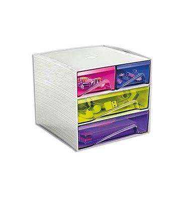 CEP PRO BY CEP Bloc de rangement 3 tiroirs, 4 compartiments. 18,6 x 18,5 x 17,5 cm. Coloris Blanc et Multicolore