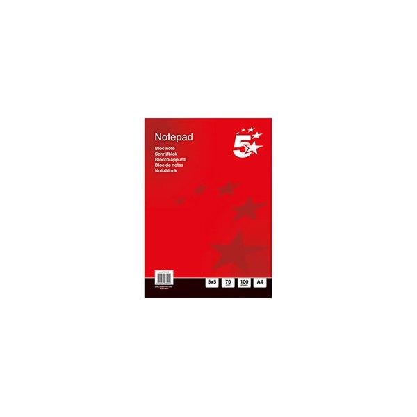 5 ETOILES Bloc de bureau 70g A5 200 pages 5x5. Feuilles détachables. En tête encollée. Couverture vernie (photo)