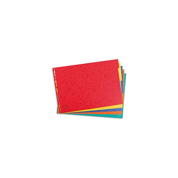 EXACOMPTA Jeu d'intercalaires 5 positions format A3 pour pochettes perforées. Carte lustrée 5/10e