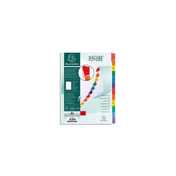 EXACOMPTA Jeu d'intercalaires numérique12 positions en carte blanche 170g, onglets Mylar®. Format A4