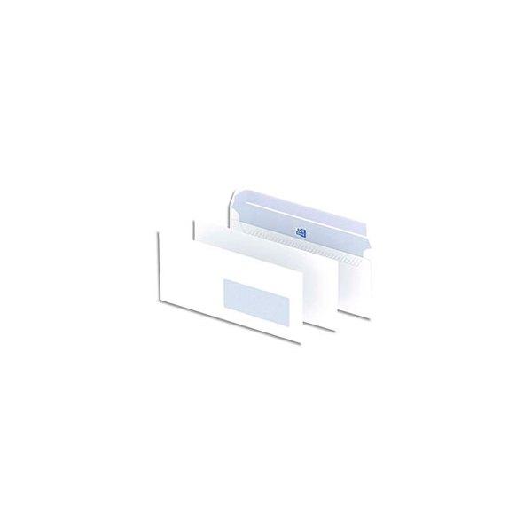 OXFORD Boîte de 500 enveloppes blanches auto-adhésives 90g format DL 110 x 220 mm fenêtre 45 x 100 mm
